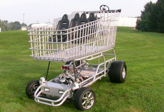 The finished shopping trolley. See SWCART for story; A madcap car nut inspired by Top Gear has created the world's fastest shopping trolley - powered by a 290bhp engine. Cal VanSant spent two years and #10,000 building the 9ft tall 'Shopper Chopper' from scratch. It can seat six people and is powered by a 5.8 litre V8 Chevrolet engine normally used in  muscle cars. Cal built the trolley as a stunt for his son-in-law Brent Musser's grocery store but they now fire it out for promotional events. The top speed has not yet been tested but cars powered by the same engine have a top speed of around 130mph. Cal, 49, of Lancaster in Pennsylvania, USA, now hopes to set a new shopping trolley world speed record.