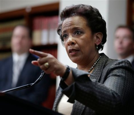 FILE- In this April 28, 2014 file photo, Loretta Lynch, U.S. Attorney for the Eastern District of New York speaks during a news conference in New York. President Obama chose Loretta Lynch as attorney general on Friday, Nov. 7, 2014, which would make her the first black woman in the position. (AP Photo/Seth Wenig, File)