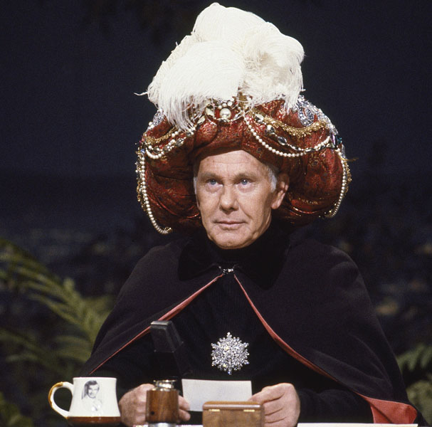 """THE TONIGHT SHOW STARRING JOHNNY CARSON -- Air Date 08/16/1989 -- Pictured: Host Johnny Carson as """"Carnac The Magnificent"""" on August 16, 1989 -- Photo by: Chris Haston/NBCU Photo Bank"""