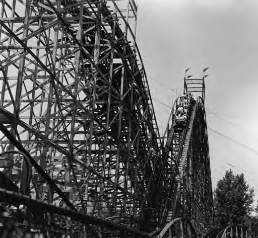 Green-Thumb-Club-members-ride-the-roller-coaster-down-hill-at-Euclid-Beach-Park-August-1965