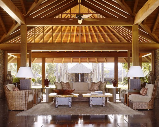good-ideas-for-rooms-tropical-porch-design-dual-artistic-coffee-table-traditional-cozy-couch-ceiling-fan-traditional-wood-ceiling-big-table-lamps