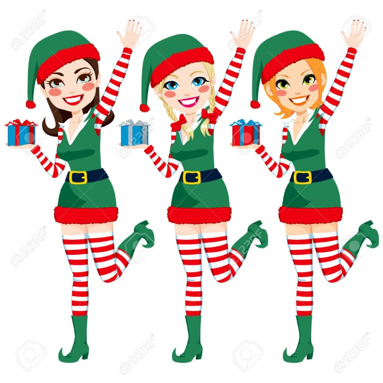 22964399-Three-beautiful-Santa-Claus-Elf-helpers-holding-Christmas-presents-and-waving-hand-Stock-Vector