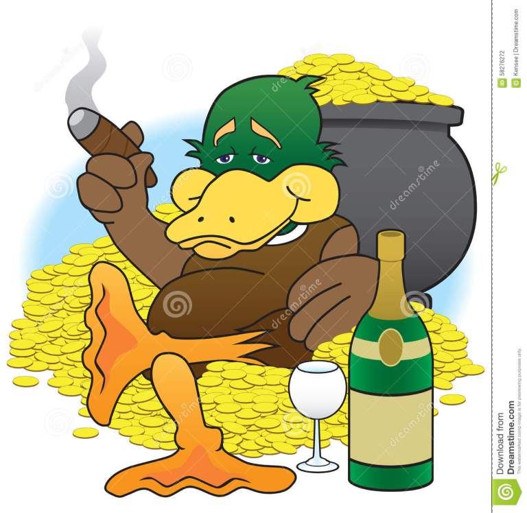 lucky-duck-cartoon-sitting-his-gold-coins-enjoying-his-wealth-58276272